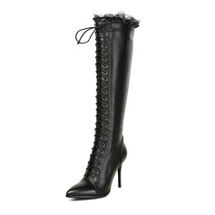 Women's Real Leather Stiletto Heel Boots Mid-Calf Boots With Ribbon Tie shoes
