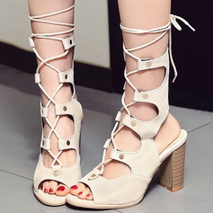 Women's Leatherette Wedge Heel Sandals With Lace-up Hollow-out shoes