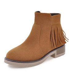 Women's Suede Low Heel Boots Ankle Boots With Zipper Tassel shoes