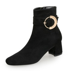 Women's Suede Chunky Heel Closed Toe Boots Ankle Boots With Zipper Button shoes