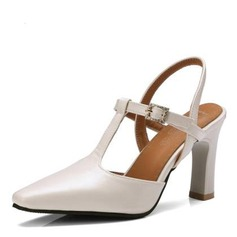 Women's Leatherette Chunky Heel Pumps Closed Toe Slingbacks With Buckle shoes
