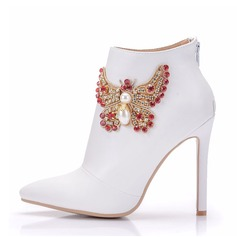 Women's Leatherette Stiletto Heel Boots Pumps With Rhinestone