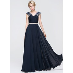 A-Line/Princess V-neck Floor-Length Chiffon Prom Dresses With Ruffle Beading Sequins