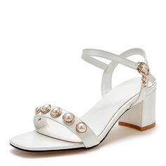 Frauen Kunstleder Stämmiger Absatz Sandalen Absatzschuhe Peep Toe Slingpumps mit Nachahmungen von Perlen Schnalle Schuhe