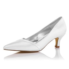 Women's Satin Low Heel Closed Toe Pumps Dyeable Shoes