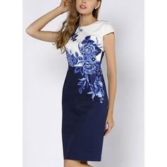 Polyester With Stitching Knee Length Dress (199123695)