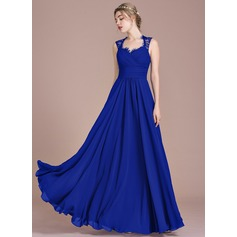 A-Line/Princess Floor-Length Chiffon Lace Bridesmaid Dress With Ruffle Bow(s)