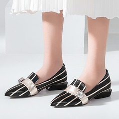 Women's Real Leather Chunky Heel Flats Pumps With Split Joint shoes (086116257)