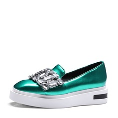 Women's Leatherette Flat Heel Flats With Crystal shoes