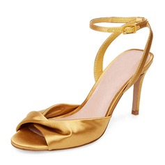 Women's Silk Like Satin Stiletto Heel Pumps Sandals With Ruffles