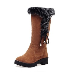 Women's Suede Chunky Heel Mid-Calf Boots Snow Boots With Fur Braided Strap shoes