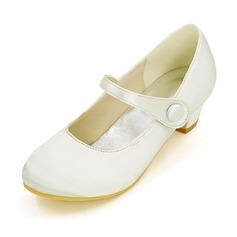 Closed Toe Satin Low Heel Pumps Flower Girl Shoes (207111559)