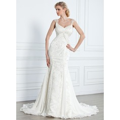 Trumpet/Mermaid V-neck Court Train Chiffon Lace Wedding Dress With Beading