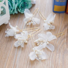 Ladies Exquisite Imitation Pearls/Silk Flower Hairpins (Set of 3)