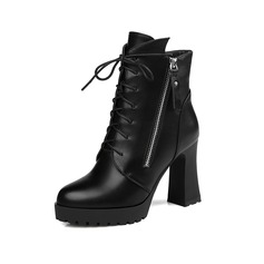 Women's Leatherette Chunky Heel Ankle Boots With Zipper Braided Strap shoes
