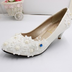 Women's Leatherette Chunky Heel Closed Toe Pumps With Ribbon Tie Flower