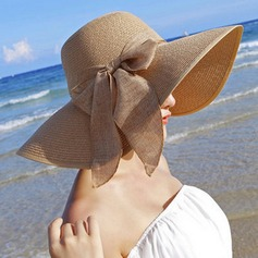 Ladies' Beautiful Raffia Straw With Bowknot Floppy Hat/Straw Hat/Beach/Sun Hats