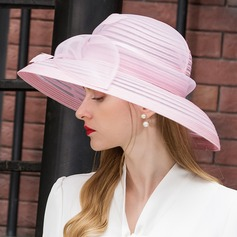 Ladies' Elegant Cambric With Feather Floppy Hat