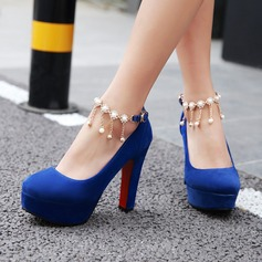 Women's Suede Chunky Heel Pumps Platform Closed Toe With Tassel shoes