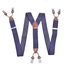 Personalized Modern Polka Dot Y-Back Clip-On Adjustable Polyester Leather Suspenders