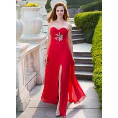 Empire Sweetheart Floor-Length Chiffon Prom Dress With Ruffle Beading Split Front