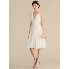 V-neck Knee-Length Chiffon Lace Bridesmaid Dress (266213502)