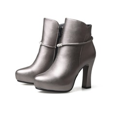 Women's Leatherette Chunky Heel Platform Ankle Boots shoes (088098417)