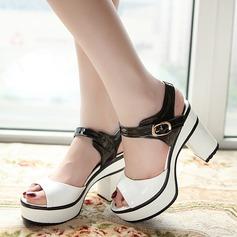 Femmes PU Talon bottier Sandales Escarpins Plateforme À bout ouvert Escarpins avec Boucle chaussures