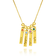 Custom 18k Gold Plated Silver Engraving/Engraved Vertical Four Bar Necklace Family Necklace With Kids Names Birthstone - Birthday Gifts Mother's Day Gifts