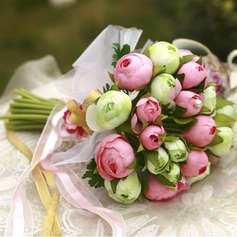 Lovely Round Satin Bridesmaid Bouquets