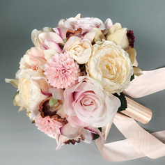 Simple And Elegant Round Silk Flower Bridal Bouquets (Sold in a single piece) -