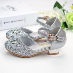 Girl's Round Toe Sparkling Glitter Flat Heel Flower Girl Shoes With Sparkling Glitter