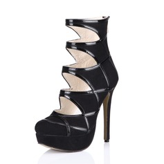 Patent Leather Stiletto Heel Platform Ankle Boots Riding Boots shoes