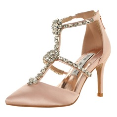 Kvinner Satin Stiletto Hæl Lukket Tå Sandaler Beach Wedding Shoes med Rhinestone