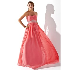 Empire Sweetheart Floor-Length Chiffon Prom Dresses With Ruffle Beading