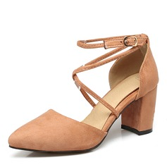 Women's Suede Chunky Heel Pumps Closed Toe With Buckle shoes (085171204)