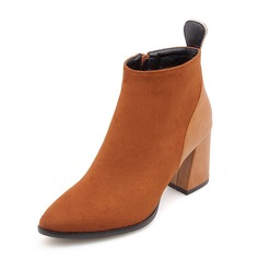 Women's Suede Chunky Heel Pumps Closed Toe Boots Ankle Boots Mid-Calf Boots With Zipper shoes