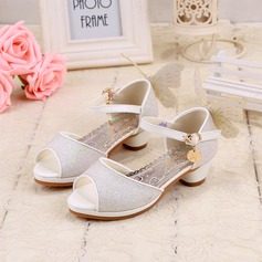 Girl's Peep Toe Sparkling Glitter Low Heel Sandals Flower Girl Shoes With Bowknot Buckle Sparkling Glitter