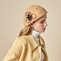 Ladies' Beautiful/Simple/Pretty Wool With Tulle Beret Hats