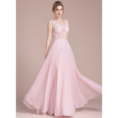V-neck Floor-Length Chiffon Prom Dresses (272194624)