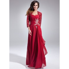 Sweetheart Floor-Length Chiffon Mother of the Bride Dress With Beading Sequins Cascading Ruffles
