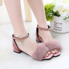 Girl's Peep Toe Suede Sandals Flats With Feather Button