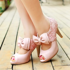 Women's Leatherette Lace Cone Heel Sandals Pumps Peep Toe With Bowknot shoes