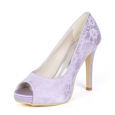 Women's Lace Stiletto Heel Peep Toe Platform Pumps With Others