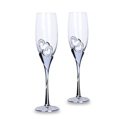 Personalized Heart with Heart/Heart design Toasting Flutes (Set Of 2) (126179147)