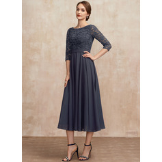 A-Line Scoop Neck Tea-Length Chiffon Lace Mother of the Bride Dress With Sequins (267255991)