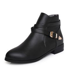 Women's PU Low Heel Boots Ankle Boots With Buckle shoes