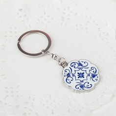 Personalized Flower Design Chrome Keychains