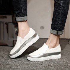 Women's Microfiber Leather Wedge Heel Flats Wedges With Braided Strap shoes (086138234)
