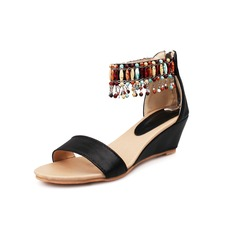 Women's Leatherette Wedge Heel Sandals Wedges Peep Toe shoes